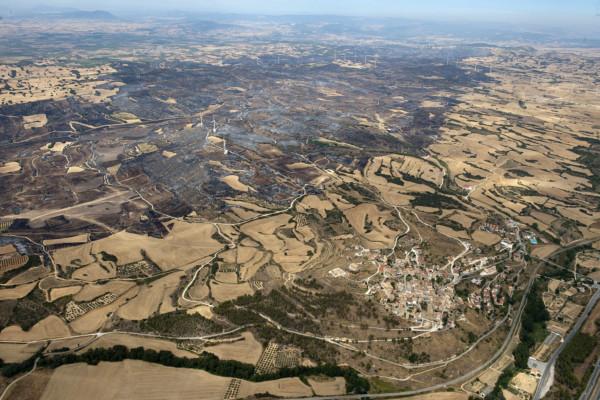 Vista aérea del incendio